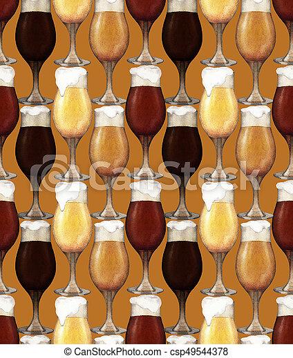 Watercolor glasses of beer - csp49544378