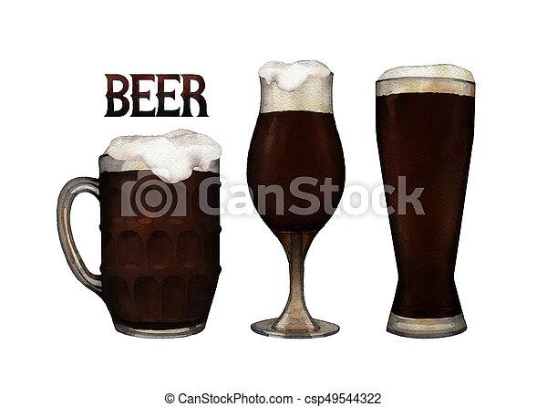 Watercolor glasses of beer - csp49544322