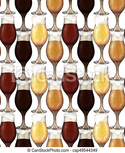 Watercolor glasses of beer - csp49544349