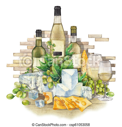 Watercolor Glasses Of White Wine Bottles Grapes And Cheese Canstock