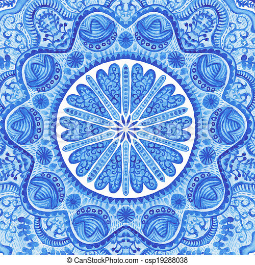 Watercolor gzhel. Doily round lace pattern, circle background with many details, looks like crocheting handmade lace, lacy arabesque designs.Orient traditional ornament. Oriental motif - csp19288038