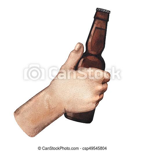 Watercolor hand with beer bottle - csp49545804