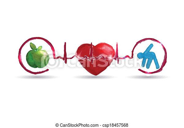 Watercolor Healthy Living Health Care Symbols Watercolor Clip