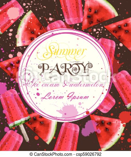 Watercolor Ice Cream And Watermelon Card Vector Party Invitation Summer Backgrounds