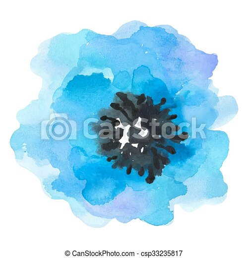 Watercolor illustration blue flower on a white background. - csp33235817