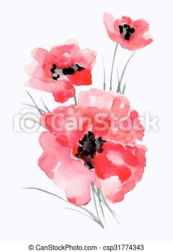 Watercolor illustration of ared flower on a white background. - csp31774343