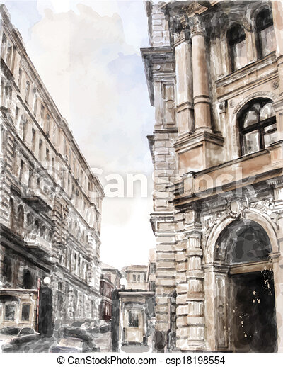 watercolor illustration of city scape. - csp18198554