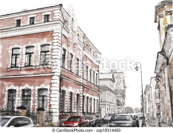 watercolor illustration of city scape - csp18314450