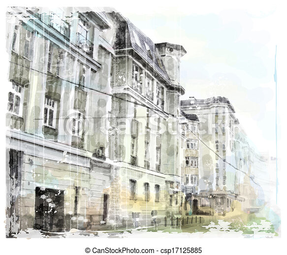 watercolor illustration of city scape - csp17125885