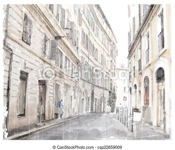 watercolor illustration of city scape.  - csp22659009