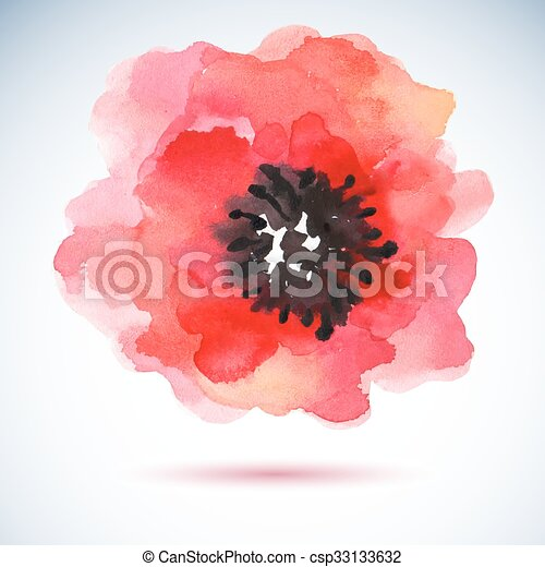 Watercolor illustration red flower. - csp33133632
