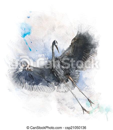 Watercolor Image Of Great Blue Heron - csp21050136