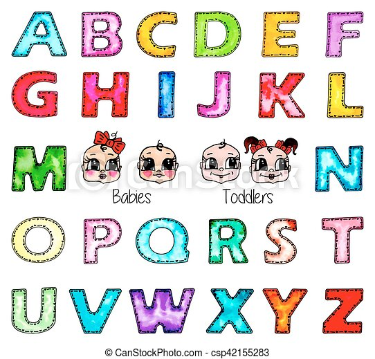 Watercolor Kids Alphabet Isolated Boy Girl Faces