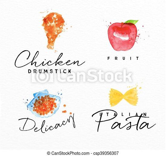 Watercolor label pasta - csp39356307