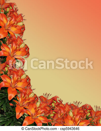 Watercolor Lilies Orange Floral