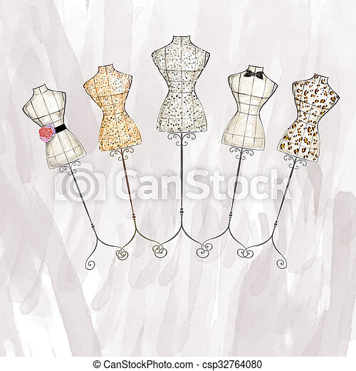 Watercolor Mannequins Hand Draw Fashion Illustration Watercolor Mannequin