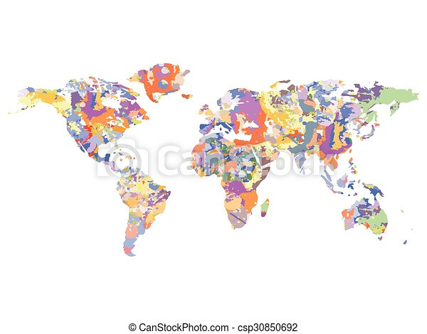 Watercolor map of the world, vector illustration. Watercolor map of ...