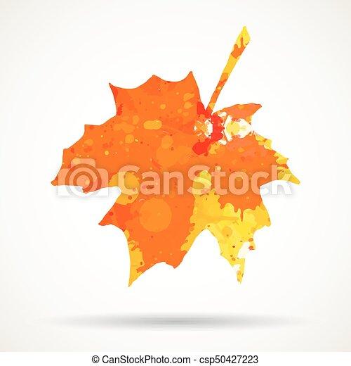 Watercolor maple leaf - csp50427223