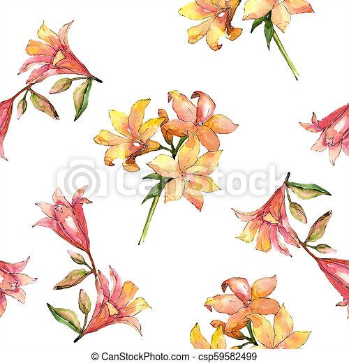 Watercolor Orange Amaryllis Floral Botanical Flower Seamless Background Pattern
