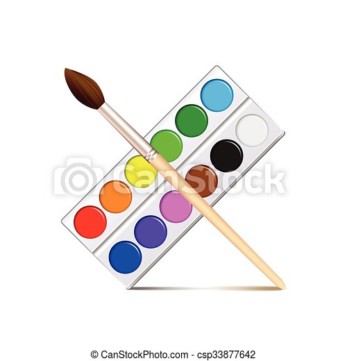 watercolor paint palette isolated on white vector. watercolor paint palette  isolated on white photo-realistic vector | canstock  can stock photo