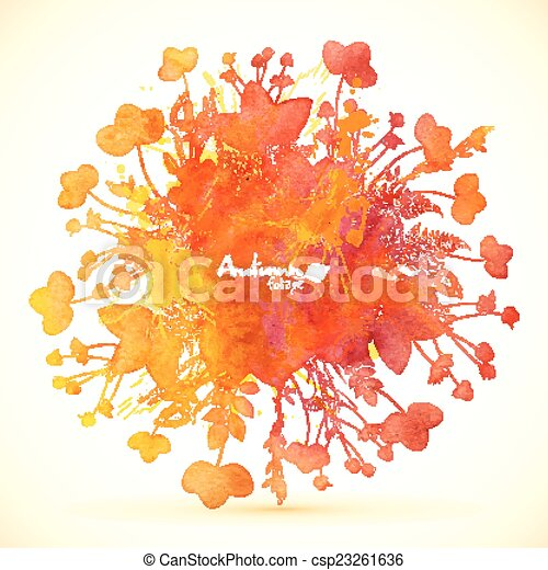 Watercolor painted autumn leaves vector banner. Watercolor ...