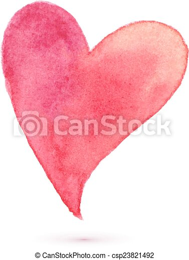 Watercolor painted heart for your design - csp23821492