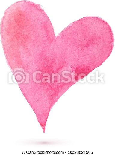 Watercolor painted heart for your design - csp23821505