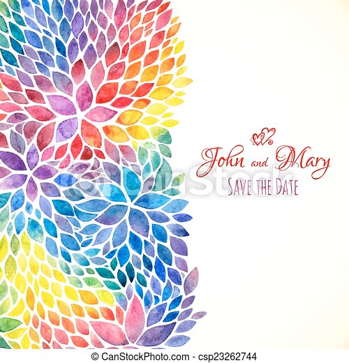 Watercolor painted rainbow colors invitation template - csp23262744
