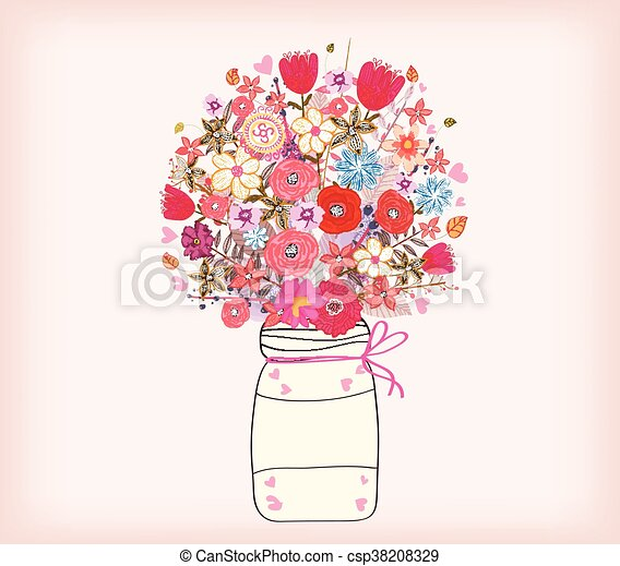 Watercolor Painting Bunch Of Flowers In A Vase