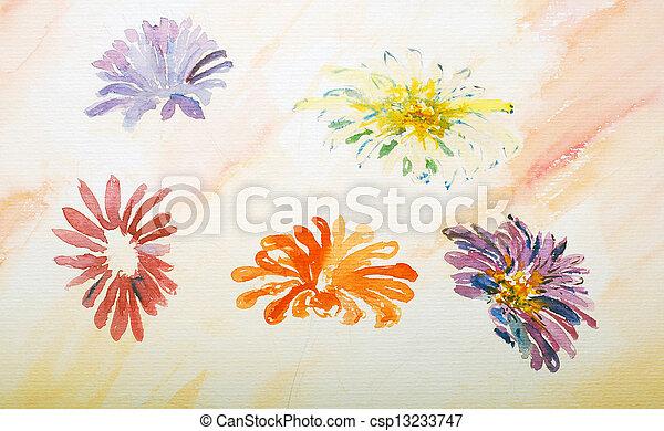 watercolor painting, flowers - csp13233747
