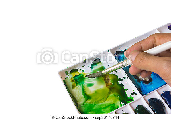 watercolor painting isolated on white background. - csp36178744