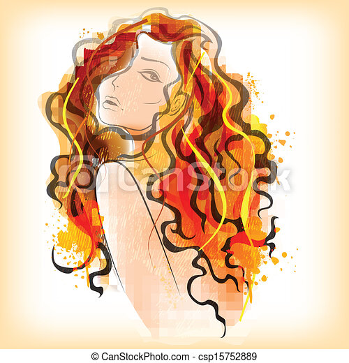 Watercolor painting of Lady - csp15752889