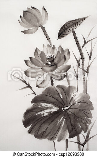 Watercolor painting of lotus flower - csp12693380
