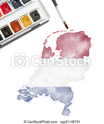 Watercolor painting of Netherlands in the national colors.(series) - csp31148741