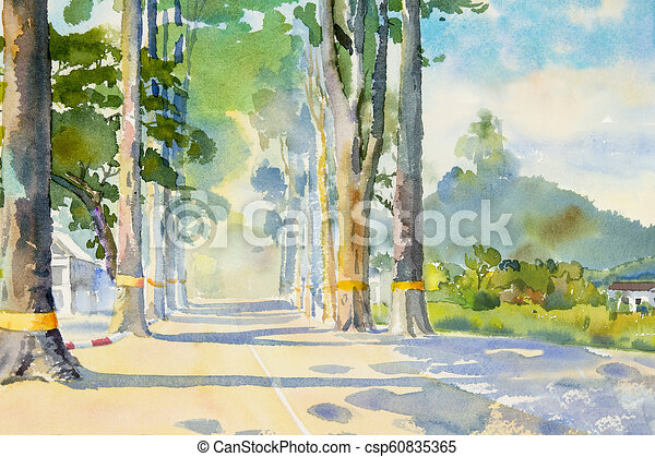 Watercolor Painting Of Tunnel Trees In Village Watercolor Landscape Painting Colorful Of Tunnel Trees In Village Street Canstock