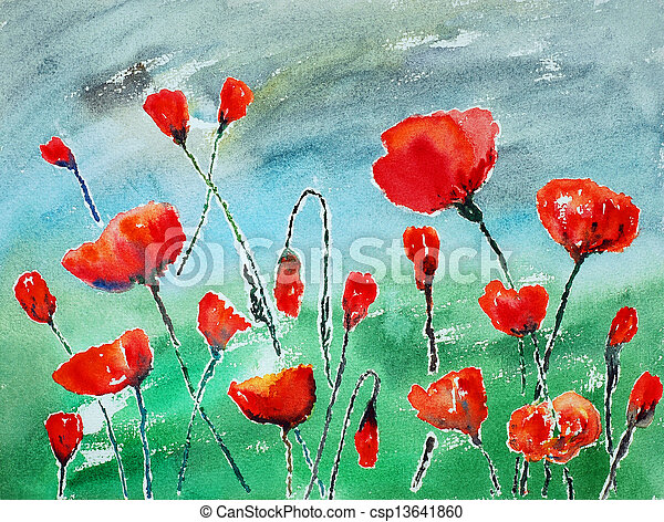 watercolor painting, poppies - csp13641860