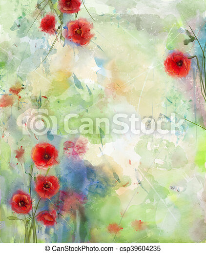 Watercolor painting red poppy flowers composition for background watercolor painting red poppy flowers composition for background multi color watercolor grunge paper texture background mightylinksfo