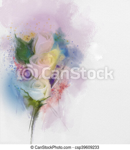 Watercolor Painting Rose Flower Abstract Flowers Painting White