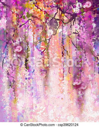 Watercolor painting spring purple flowers wisteria background spring purple flowers wisteria background csp39620124 mightylinksfo