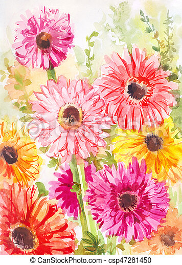 watercolor painting with pink yellow red gerbera flower poster