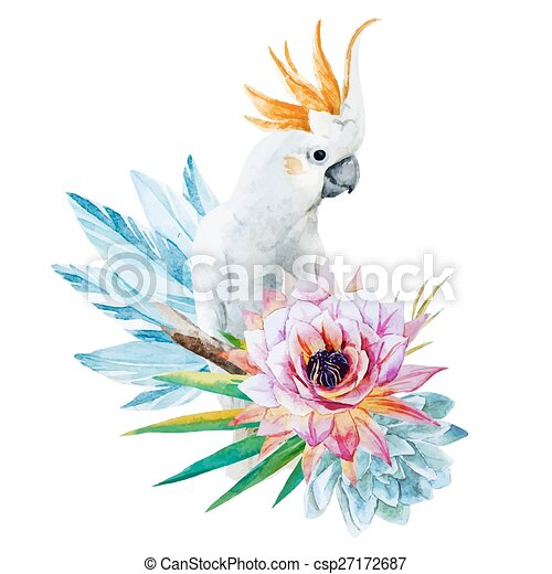 Watercolor parrot with flowers - csp27172687