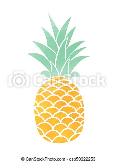 Watercolor Pineapple. Vector symbol - csp50322253