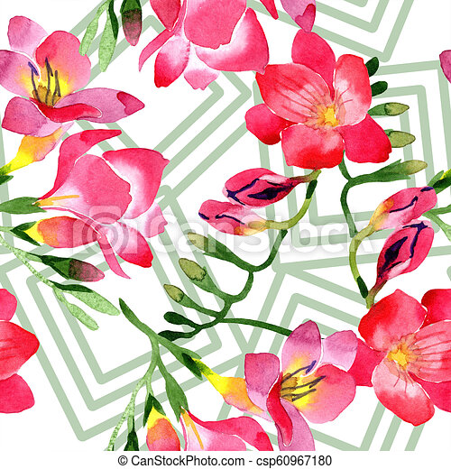 Watercolor Pink Freesia Flower Floral Botanical Flower Seamless Background Pattern