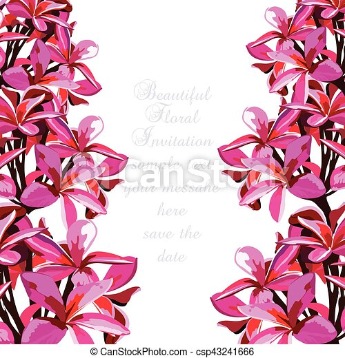 Watercolor pink tropical flowers card vector floral border for watercolor pink tropical flowers card csp43241666 mightylinksfo