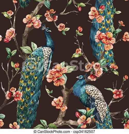 Watercolor raster peacock pattern - csp34162507