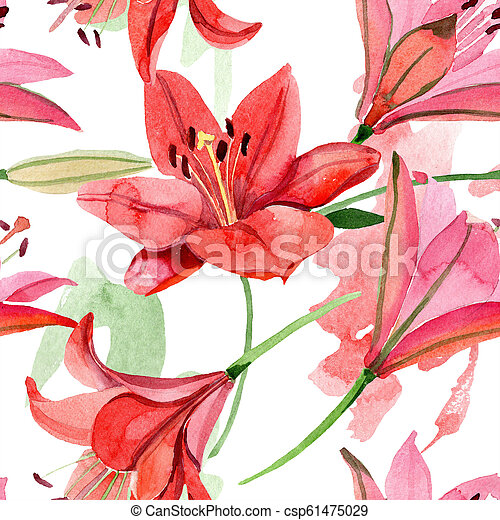 Watercolor Red Lily Flower Floral Botanical Flower Seamless Background Pattern