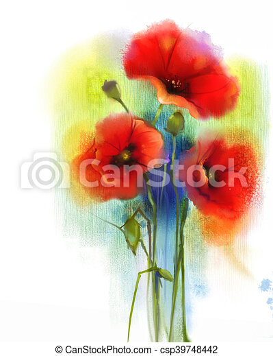 Watercolor red poppy flower painting hand paint poppies flowers in watercolor red poppy flower painting csp39748442 mightylinksfo