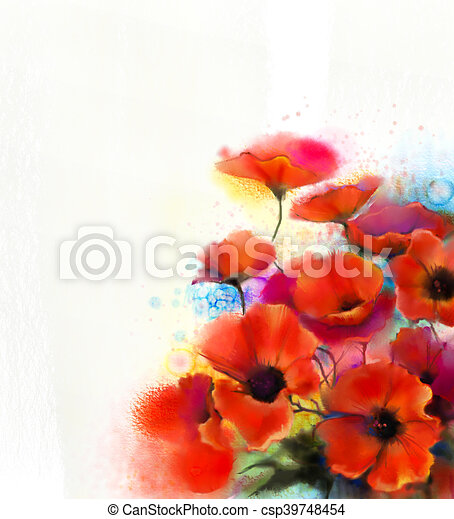 Watercolor Red Poppy Flower Painting Hand Paint Poppies Flowers In