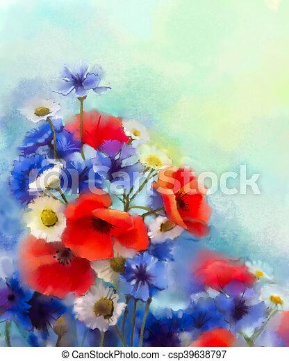 Watercolor red poppy flowers blue cornflower and white daisy watercolor red poppy flowers blue cornflower and white daisy painting csp39638797 mightylinksfo