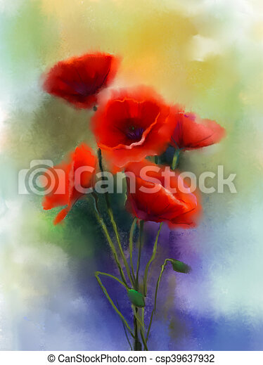Watercolor red poppy flowers painting flower paint in soft color watercolor red poppy flowers painting csp39637932 mightylinksfo